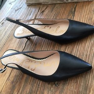 Sam Edelman Ludlow Black Leather Pointed Heels